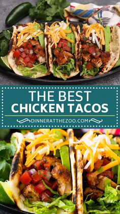 The best chicken tacos with grilled marinated chicken, pico de gallo and plenty of toppings. The best chicken tacos with grilled marinated chicken, pico de gallo and plenty of toppings. Grilled Chicken Tacos, Chicken Taco Recipes, Marinated Chicken, Baked Chicken, Mexican Food Recipes, Garlic Chicken, Soft Chicken Tacos, Street Tacos Recipe Chicken, Ground Chicken Tacos