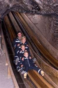 Salt Mine in Salzburg, Austria, it was so much fun sliding down in the dark