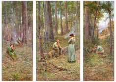 FREDERICK McCUBBIN THE PIONEER, 1904 .(Frederick McCubbin February 1855 – 20 December was an Australian painter who was prominent in the Heidelberg School, one of the more important periods in Australia's visual arts history. Australian Painting, Australian Artists, Most Famous Paintings, Triptych, Landscape Paintings, Landscapes, Modern Art, Fine Art, Gallery