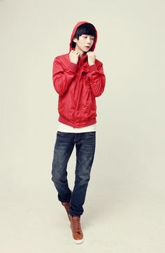 Male korean: Red jacket, white shirt, dark blue jeans, brown boots.