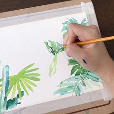 네 눈앞에 내 그림🌷 (@leegreeem) • Instagram photos and videos Watercolor Plants, Leaves
