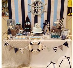 Great nautical party table and backdrop