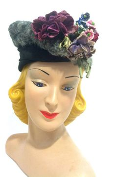 Violet Topped Grey Curly Lamb Fur Hat circa 1940s - Dorothea's Closet Vintage