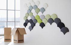 Produkter - innovativa designmöbler av hög kvalitet - Blåstation. Ginkgo / acoustic panels from hot pressed 100% polyester form felt . by Bla Station.