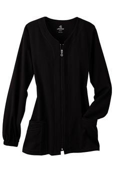 Jockey 3-pocket zip-front scrub jacket. Medium, black.