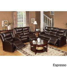 Poundex Rouen Bonded Leather Recliner Motion Living Room Set (Burgundy), Red