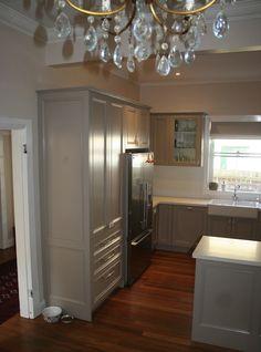 Lilyfield Life - kitchens - British Paints - Dune - gray, kitchen cabinets, Caesarstone, snow, countertops, farmhouse, sink, gray cabinets, gray kitchen cabinets, gray painted kitchen cabinets,
