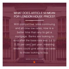 What does Article 50 mean for London house prices? We explain it in further in our blog but here is an excerpt to give you insight. You can read our blog by clicking the image. #Article50 #Brexit #UKProperty #LondonProperty