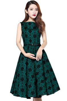 3576b13a6ea Patsy Green Printed Rockabilly Dress Size 20 Dresses