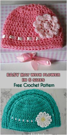 EASY Hat with Flower in 6 Sizes Free Crochet Pattern FREE crochet pattern This flower-decorated beanie will be a surefire way to accessorize any wardrobe The simple stitch which is worked in rows is adaptable Crochet Flower Hat, Crochet Baby Hat Patterns, Crochet Baby Beanie, Crochet Beanie Pattern, Crochet Cap, Baby Girl Crochet, Free Crochet, Crochet Dolls, Doll Patterns
