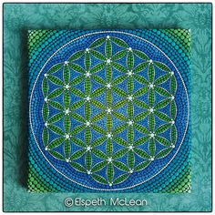 Ocean tones Flower of Life by Elspeth McLean