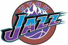 Utah Jazz Logo - Jazz in purple and blue against mountains in a copper circle (SportsLogos.Net)