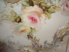 Beautiful - Large - Antique - Haviland - Limoges - France - Tray - Hand Painted - Romantic - Victorian - Bouquet - Sweetheart Roses - Lush Greenery - Scalloped Gold Rim - Circa 1896 - Museum Quality - Only Fine Lines