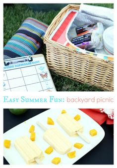 Summer Fun: Have a backyard picnic and scavenger hunt for the kids (printable included) AND a mango cream popsicle recipe #EffortlessMeals #cbias [ad]