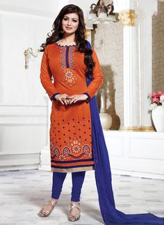 Look ethnic in this Ayesha Takia orange cotton   churidar designer suit. The ethnic embroidered and lace work on the attire adds a sign of beauty statement to your look. Comes with matching bottom and...