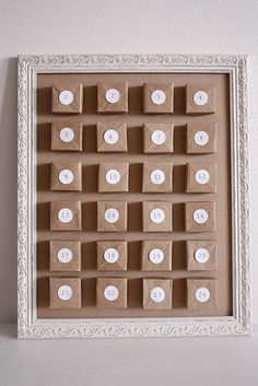 advent calendar with origami boxes made of brown paper bags