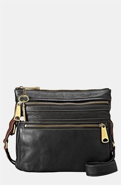 $178, Black Leather Crossbody Bag: Fossil Explorer Crossbody Bag Black. Sold by Nordstrom. Click for more info: https://lookastic.com/women/shop_items/138093/redirect