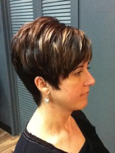 Color, cut, and style by Laura Edgy Short Hair, Short Hair With Layers, Short Hair Cuts For Women, Short Hair Styles, Short Hairstyles Over 50, Mom Hairstyles, Haircuts, Frosted Hair, Gray Hair Highlights
