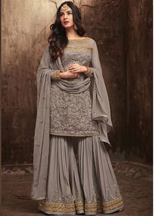 Shop online from a wide collection of bollywood salwar kameez. Grab this net palazzo designer salwar kameez online. Pakistani Dress Design, Pakistani Designers, Pakistani Outfits, Designer Salwar Kameez, Indian Salwar Kameez, Pakistani Sharara, Designer Anarkali, Walima, Sharara Designs