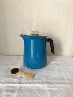 Excited to share the latest addition to my #etsy shop: Enamelware Percolator * Blue Enamel  Coffee Pot * Coffee Percolator * Graniteware Coffeepot * Agate Coffee Pot #housewares #blue #white #coffeepot #vintagecoffeepot #enamelcoffeepot #enamelwarecoffeepot #percolator #royalblue