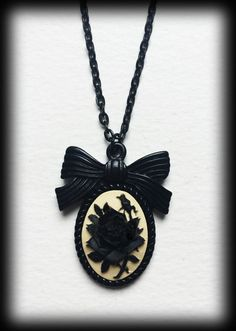 Gothic Victorian Cameo Necklace - Black and Ivory Rose by WhisperToTheMoon on Etsy