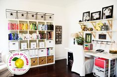 How to organize the home office | - she details her entire organization system in her home office, from filing to color coordinating books.