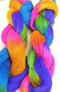 Hand Dyed Alpaca Silk Lace Yarn - Neon Rainbow