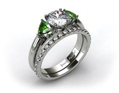 18k White Gold 3-Stone Emerald Engagement Ring