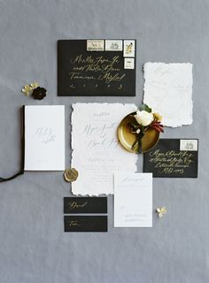 black and gold, hand calligraphy, wedding invitations, romantic stationery | Photography: Esther Sun