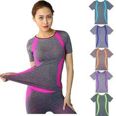Venta caliente gimnasio mujeres de compresión correr deporte camisetas de secado rápido corriendo yoga t-shirt yoga gimnasio ropa de mujer camisetas de manga tops