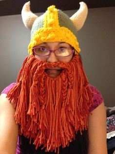 Viking hat with EPIC BEARD!!!!! - KNITTING