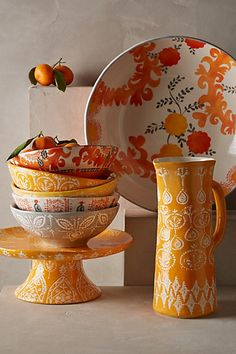 Sun Grove Serveware by Anthropologie Orange Cake Stand Serveware Romantic Dinners, Mellow Yellow, Serveware, Ceramic Pottery, Ceramic Jugs, Kitchenware, Decoration, Decorative Bowls, Kitchen Decor