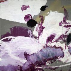 """Julian Schnabel - End of Summer IV oil, gesso on grey tarpaulin, 192 x 192"""", 1990"""