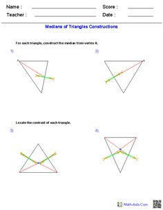 Printables Construction Math Worksheets perpendicular bisector constructions worksheets math medians of triangles worksheets