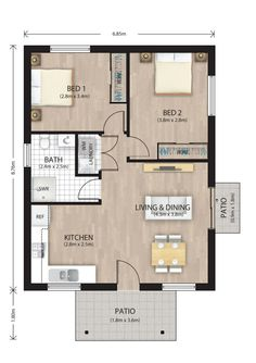 This 2 bedroom with built-in wardrobes. 2bhk House Plan, Model House Plan, Small House Floor Plans, House Layout Plans, House Layouts, 2 Bedroom Floor Plans, Two Bedroom House, Apartment Floor Plans, Granny Flat Plans