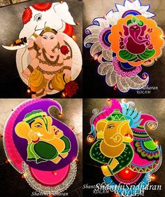 Ganesh Rangoli, Indian Rangoli, Ganesha, Rangoli Ideas, Rangoli Designs Diwali, Diwali Painting, Indian Drawing, Simple Rangoli Designs Images, Diwali Craft
