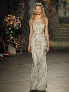 Jenny Packham silver and gold beaded wedding dress with illusion neckline from Spring 2016