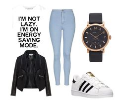 """For school"" by ewciatomaszek on Polyvore featuring Topshop, adidas, Zizzi and Marc Jacobs"