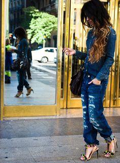 Not a fan of denim on denim but love the jeans