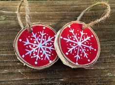 Set of 2 mini snowflake ornaments mini wood slice ornament