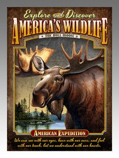 This over-sized Bull Moose Tin Sign Magnet has full-color art and an inspirational quote printed on tin with deeply rolled edges and 3-D embossed graphics. Product Information: - Each tin sign magnet