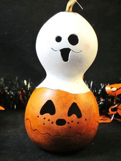 Halloween Gourd Pumpkin Candy Dish  and Ghost by KaoriKreations, $12.00