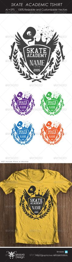 #Skater Academic Tshirt - #T-Shirts Download here: https://graphicriver.net/item/skater-academic-tshirt/4285234?ref=alena994
