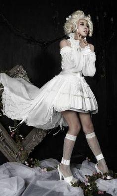 Gothic Court Lolita Jester Layer Skirt - White