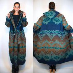 WOOLRICH Southwestern Indian Blanket Maxi Coat. Bohemian Duster Jacket Long Dress Parka. Hooded boho Navajo Hippie Outerwear. Small - Large