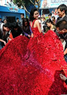 Valentine's Day Red Red Roses Dress | In a romantic gesture to end all romantic gestures, a man in China named Xiao Fan had a dress made out of 9,999 roses for his girlfriend, and then proposed to her on Valentine's Day while she was wearing it...