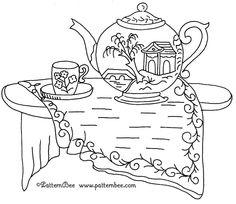 FREE REDWORK TEAPOT vintage pattern embroidery