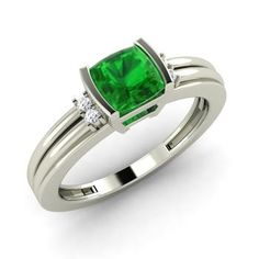 Cushion-Cut Emerald Engagement Ring in 14k White Gold with SI Diamond