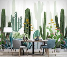 Cacti Flower Wallpaper Wall Mural Cactus Floral Murals Art Wall Decal Printed Photo Wall Papers Home Wall Decor, Art Mural, Mural Painting, Wall Murals, Wall Art, Mural Floral, Flower Mural, Flower Wallpaper, Wall Wallpaper, Photo Wallpaper
