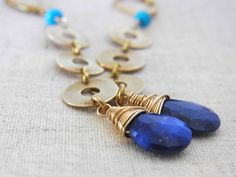 Lapis Earrings Blue Earrings Chain Earrings Royal by QuietRobin, $35.00